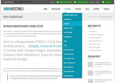 قالب هاستینگ Airo به صورت HTML