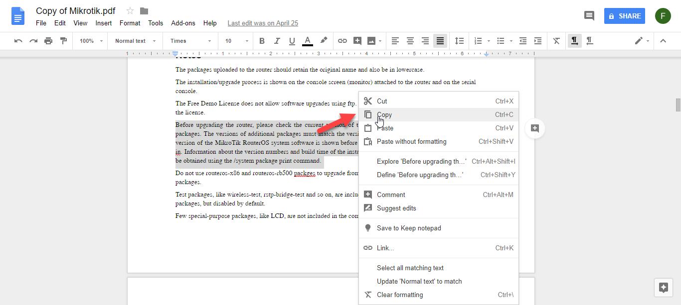 کپی کردن متن از فایل PDF