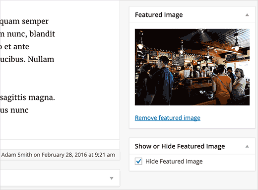 مخفی کردن تصاویر شاخص