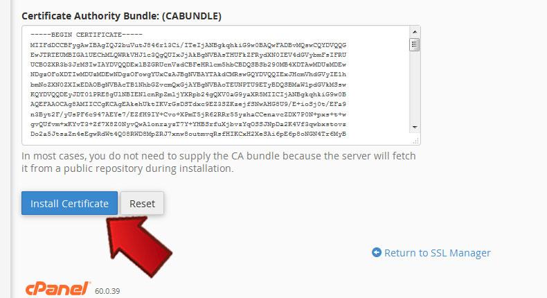 نصب SSL در Cpanel